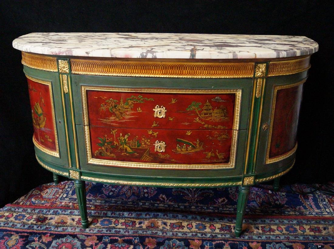 19TH C.CHINOISERIE DECORATED DEMI LUNE SERVER - 2