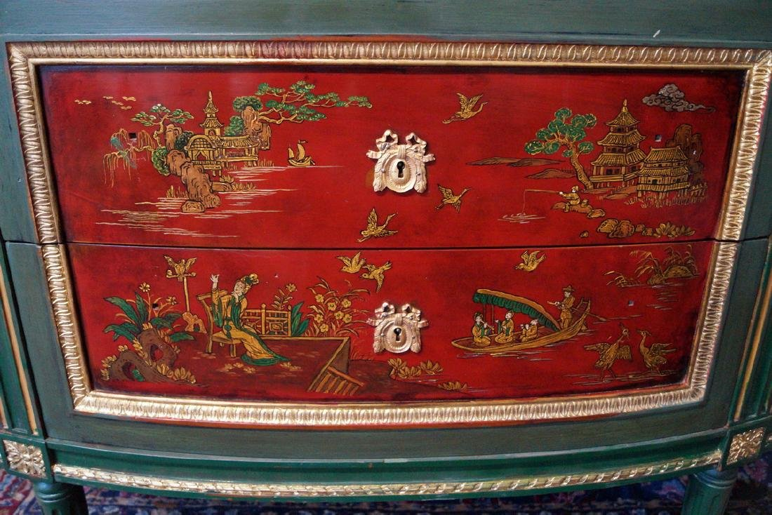 19TH C.CHINOISERIE DECORATED DEMI LUNE SERVER - 3