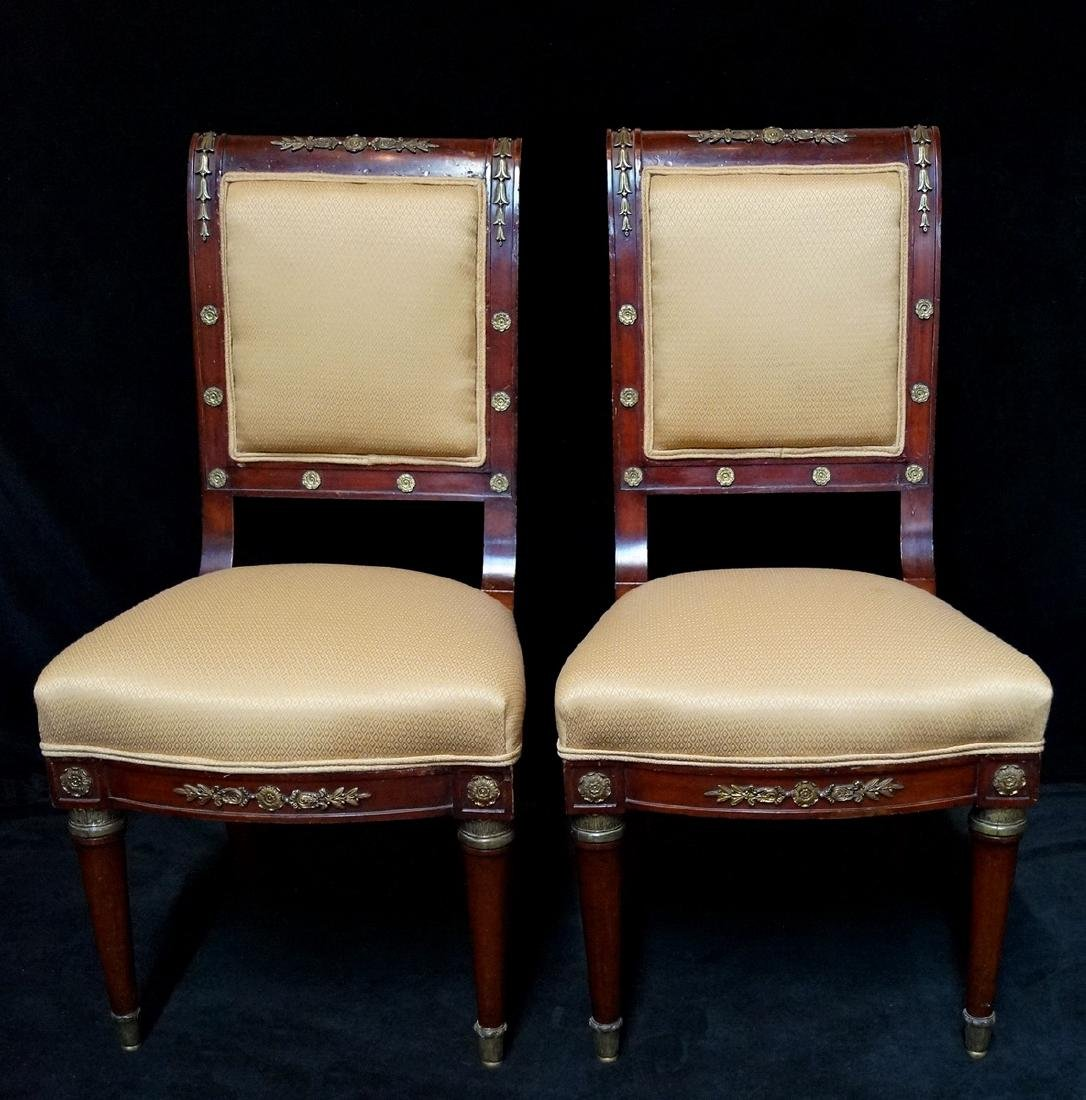 PR. 19TH C. BRONZE MOUNTED SIDE CHAIRS