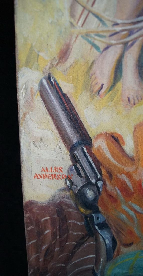 "ALLEN ANDERSON ILLUSTRATION O/C PULP COVER ""WESTERN W/ - 3"