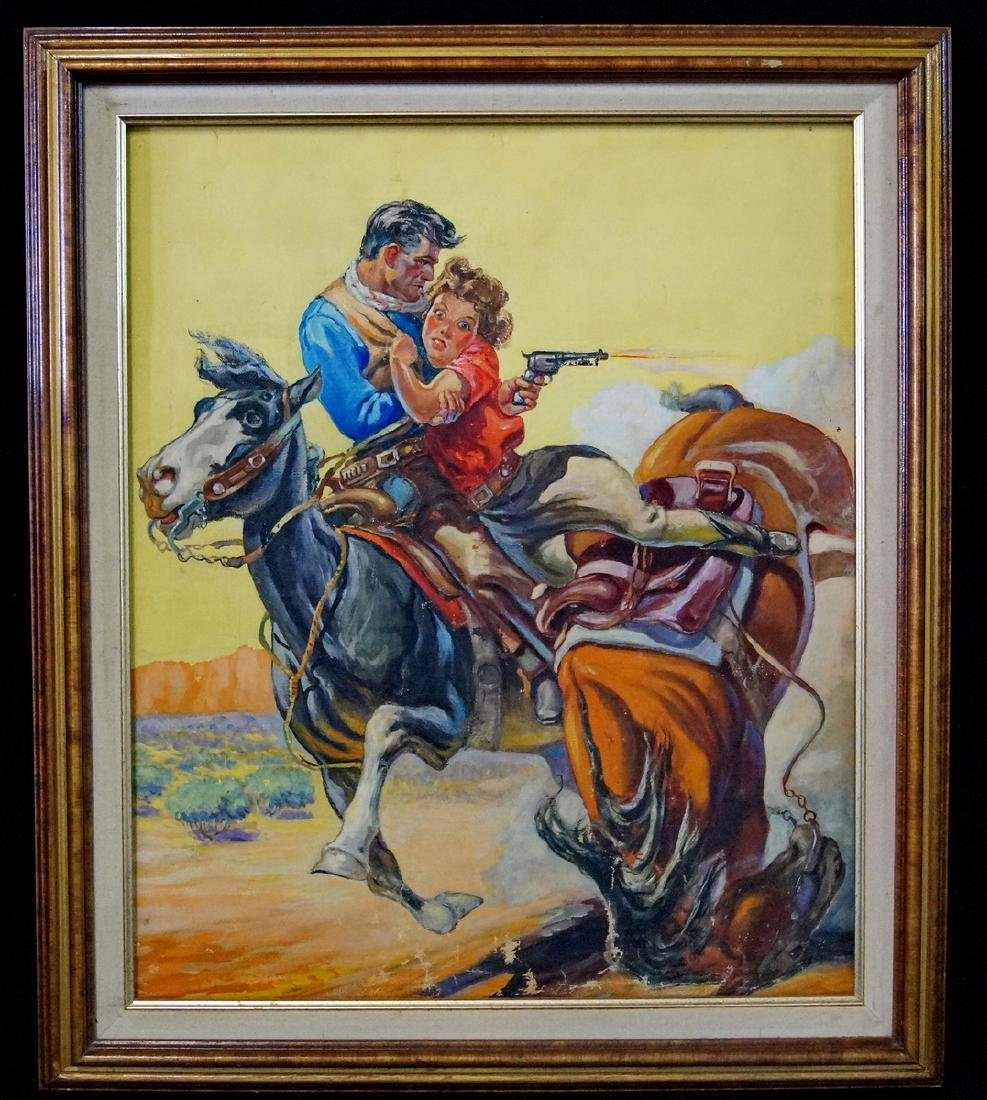 "OIL ON CANVAS ILLUSTRATION ""SAVED BY A COWBOY"" NOT"