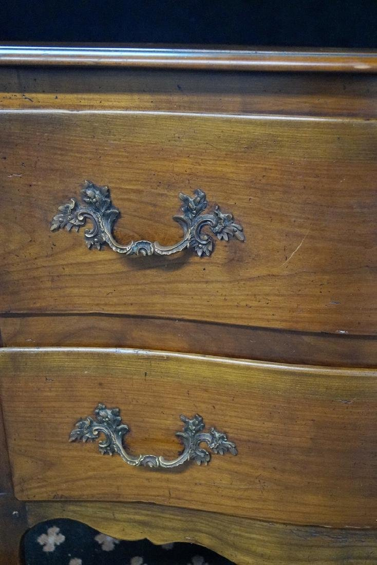 FRENCH SERPENTINE FRUITWOOD COMMODE W/ PEGGED - 2