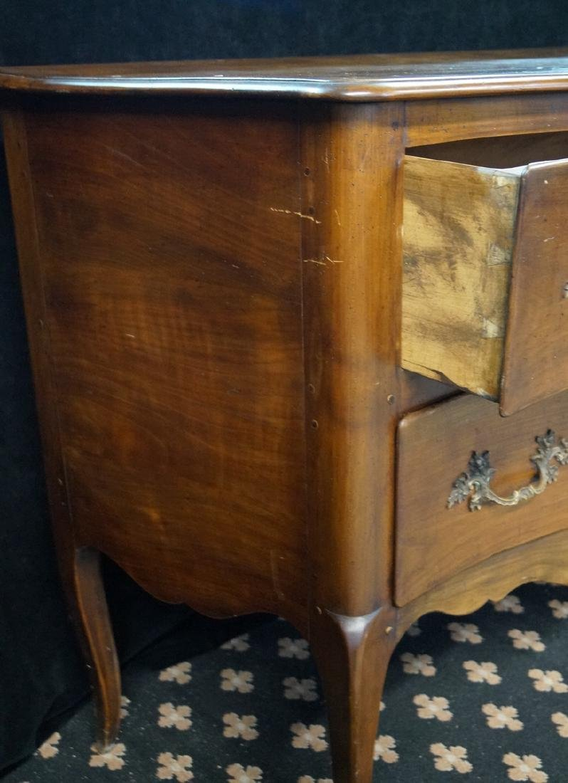 FRENCH SERPENTINE FRUITWOOD COMMODE W/ PEGGED - 4