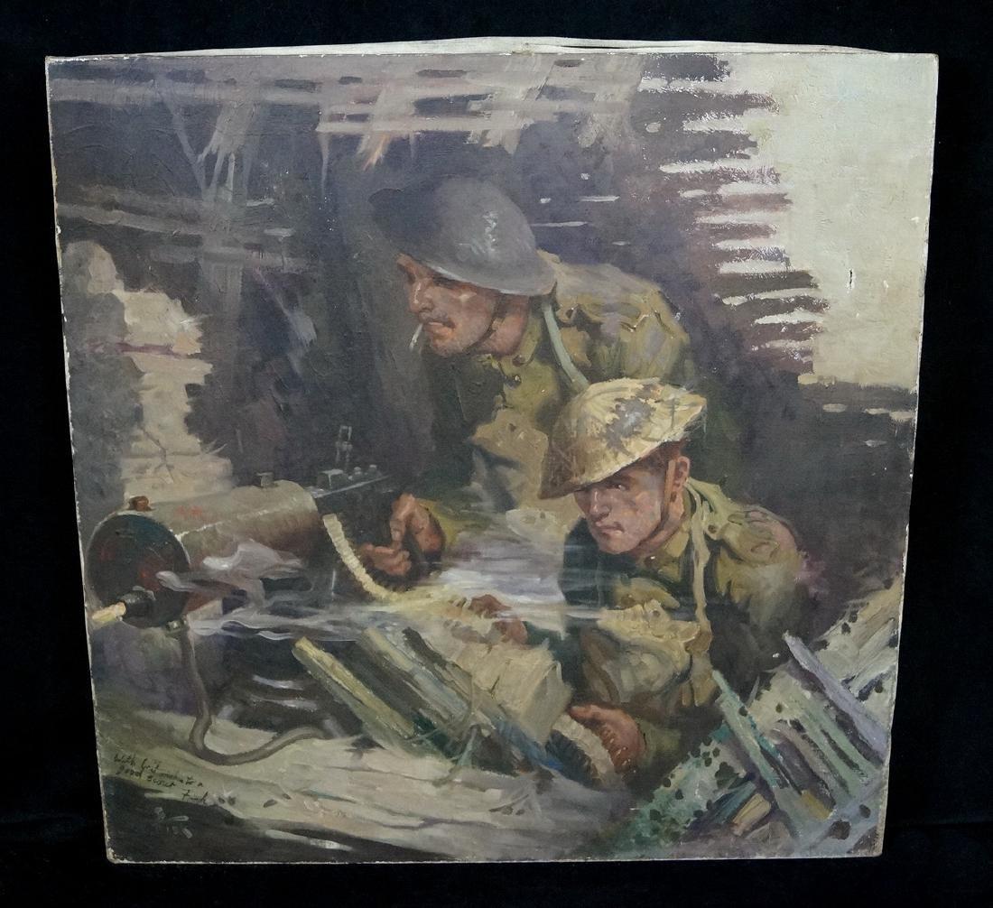 """HARRY T. FISK O/C ILLUSTRATION  """"MACHINE GUN SOLDIERS"""""""