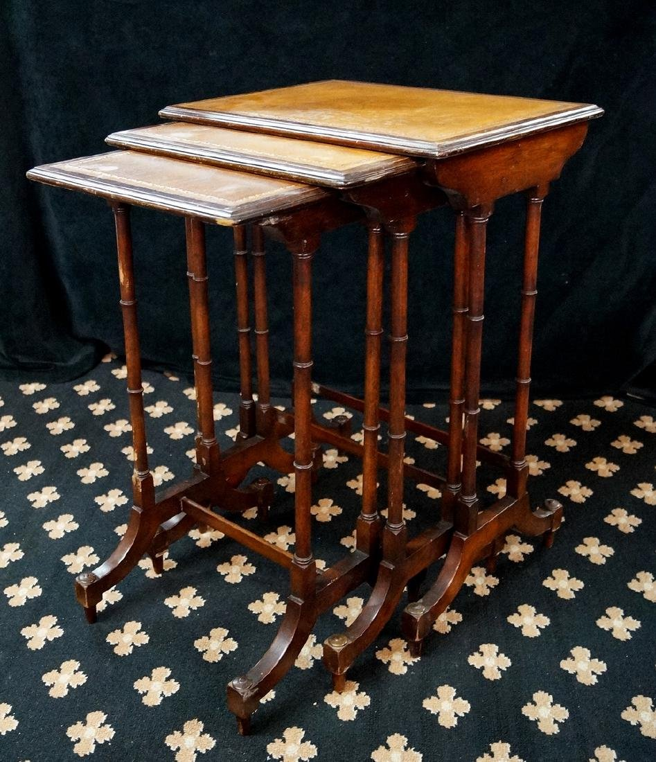 NEST 3 MAHOGANY LEATHER TOP TABLES