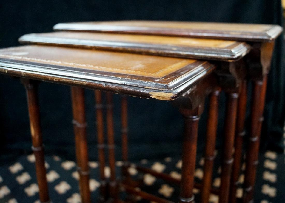 NEST 3 MAHOGANY LEATHER TOP TABLES - 5