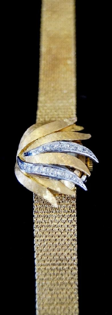 18 KT YELLOW GOLD & DIAMOND LADIES WATCH, JEWELRY - 2