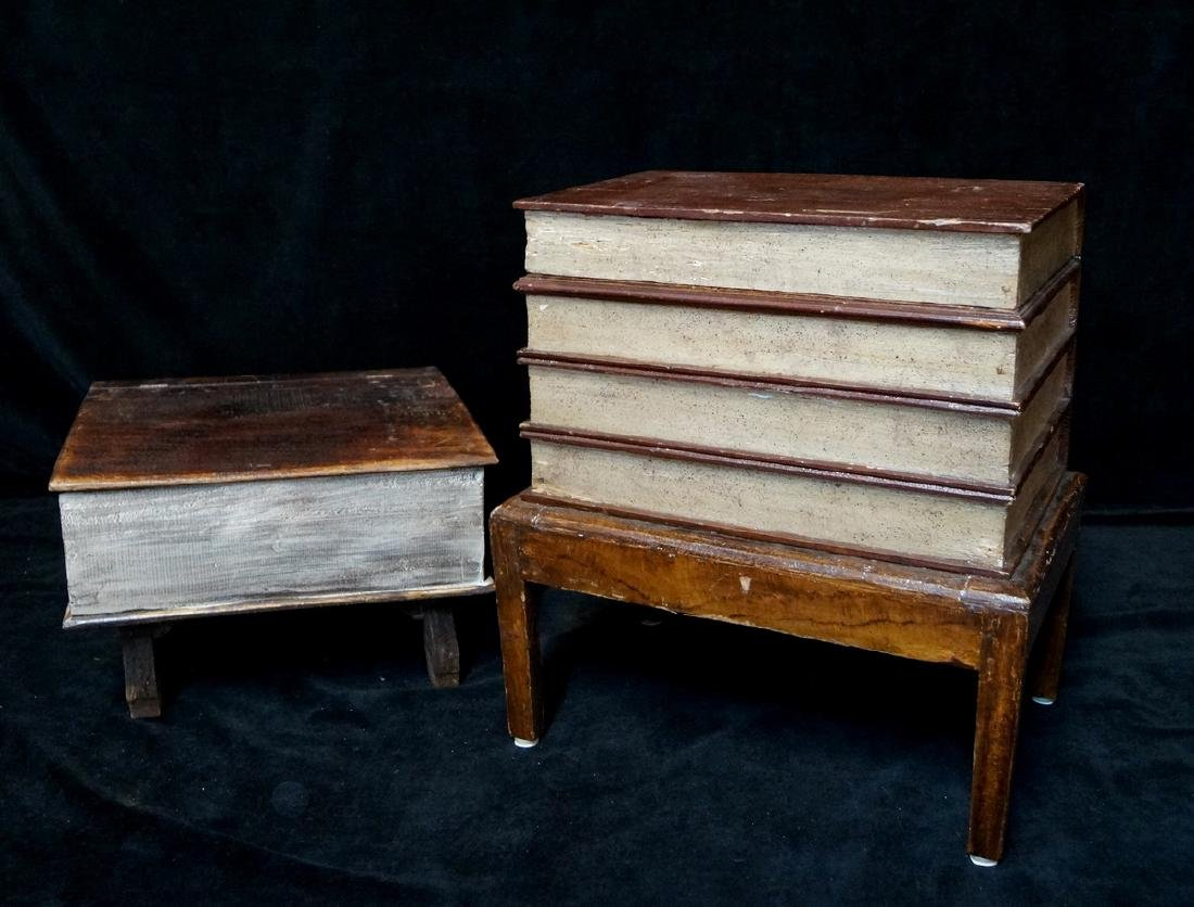 2 ANTIQUE BOOKFORM TABLES LARGEST