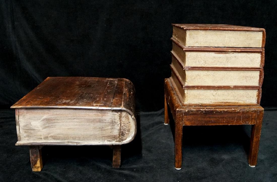 2 ANTIQUE BOOKFORM TABLES LARGEST - 5