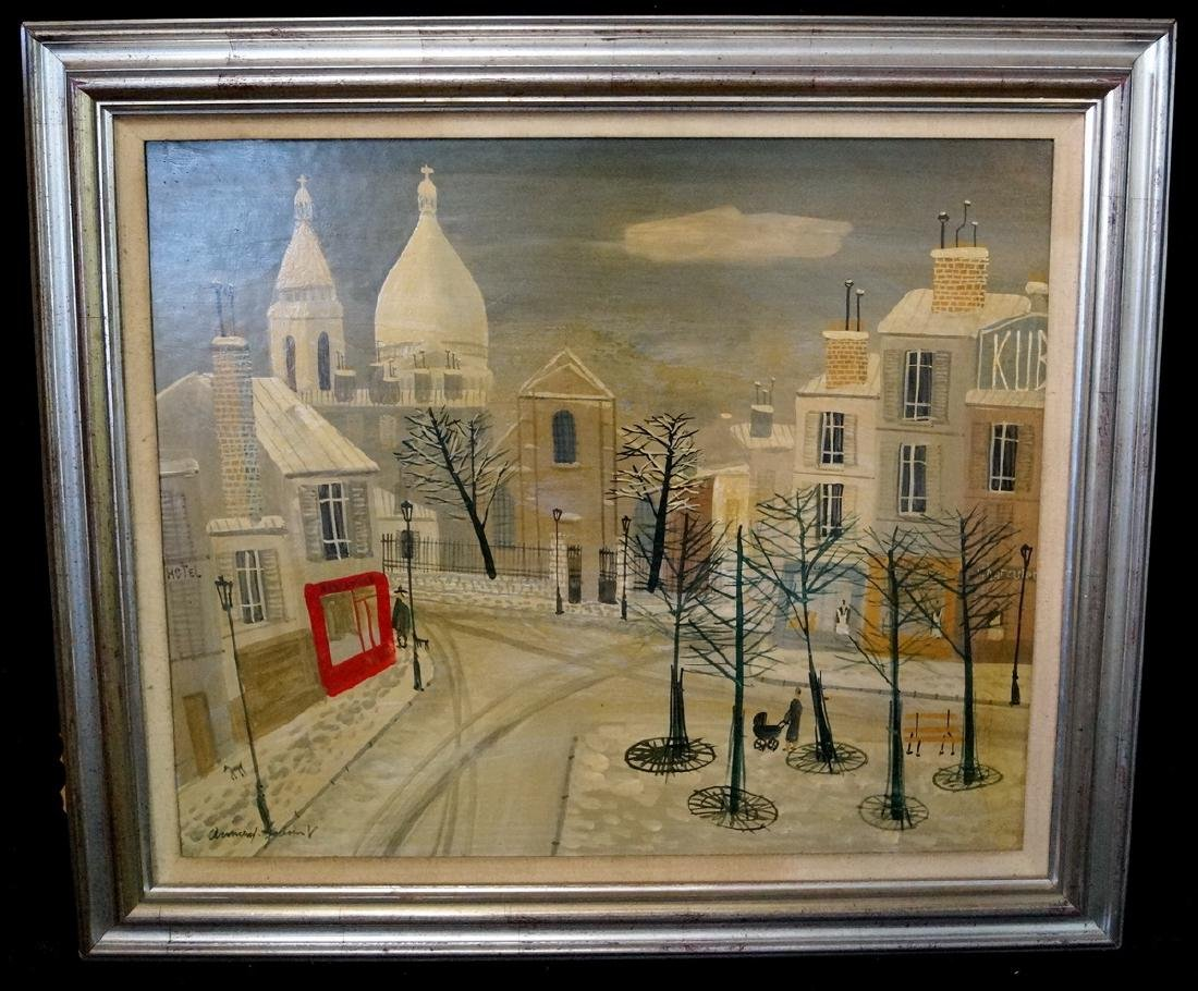 ARMAND GUERIN SIGNED OIL ON BOARD PARIS WINTER