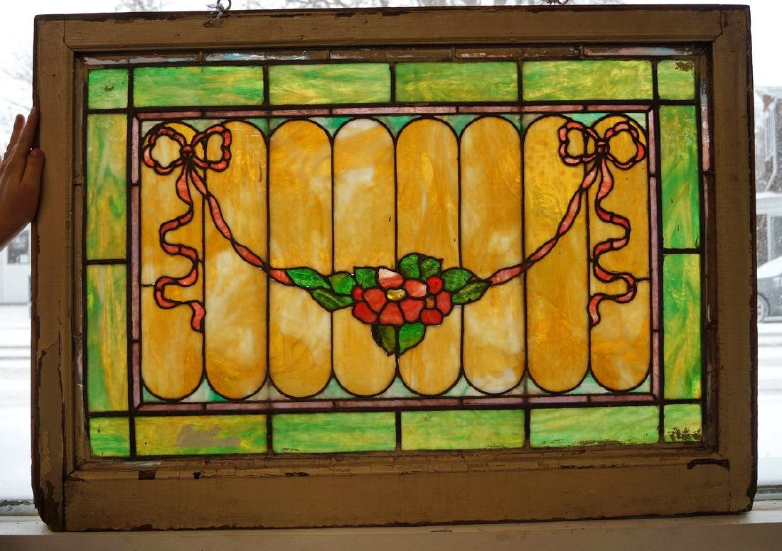 LEADED STAIN GLASS WINDOW WITH FLORAL & RIBBON SWAG