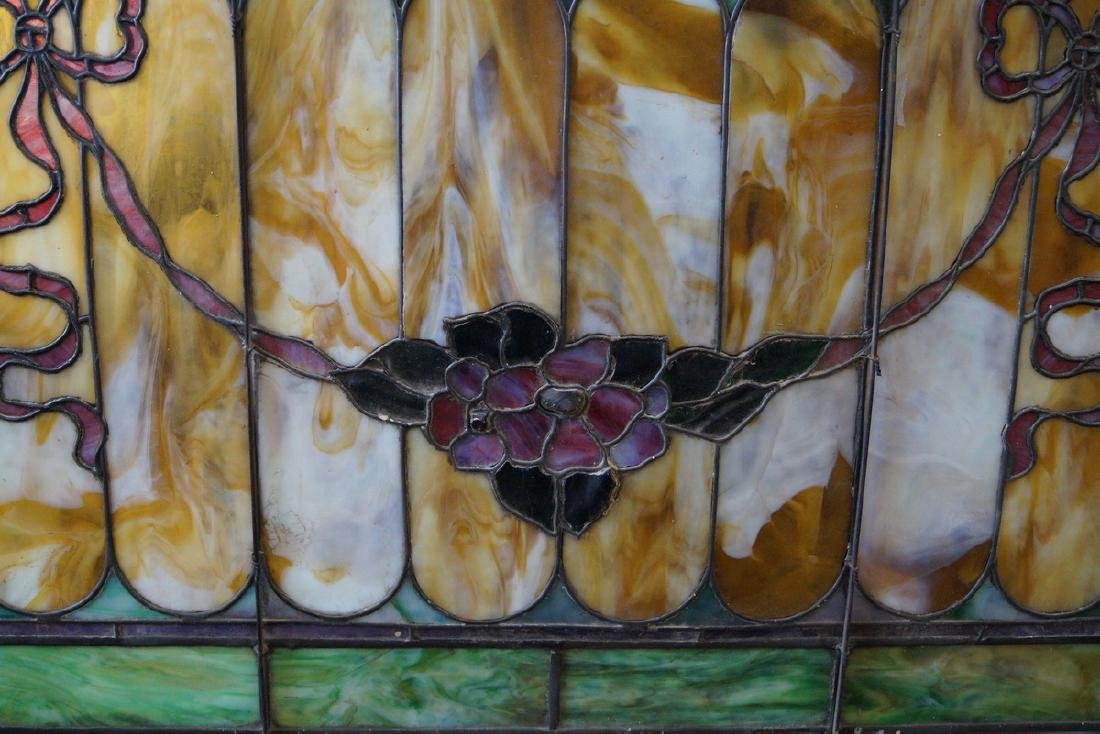 LEADED STAIN GLASS WINDOW WITH FLORAL & RIBBON SWAG - 2