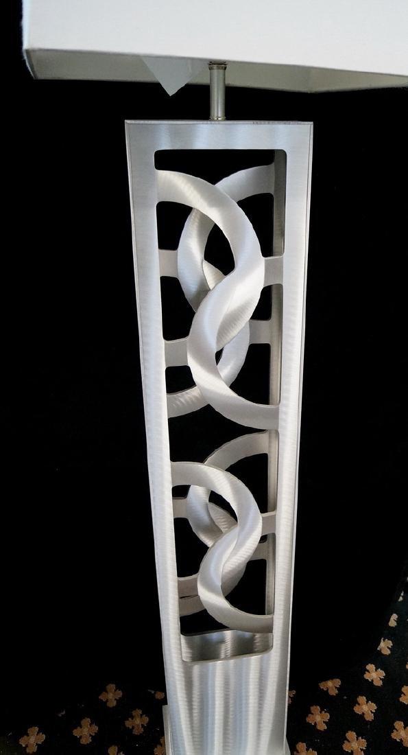 BRUSHED METAL SCROLL CUT FLOOR LAMP - 2