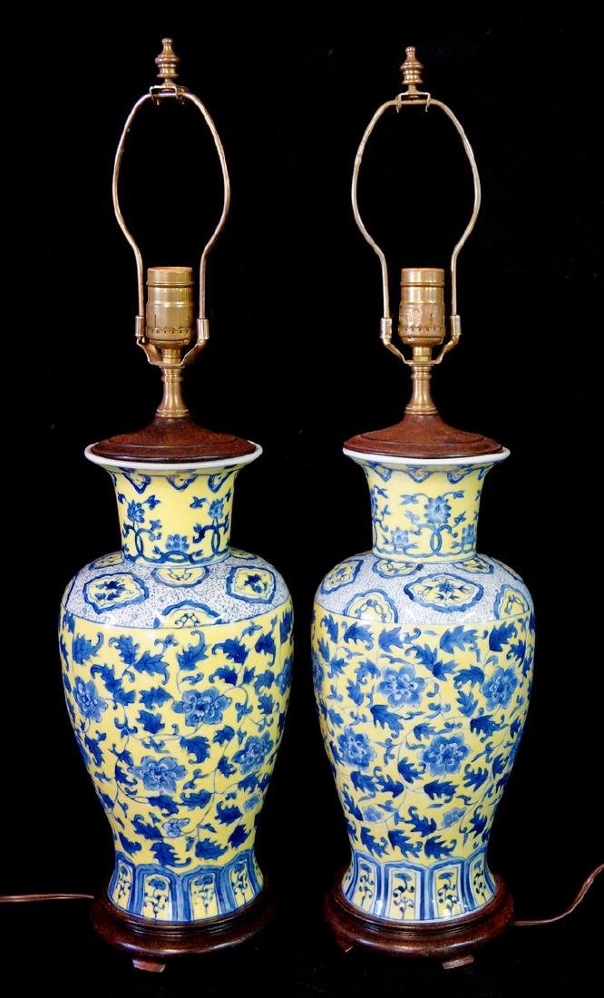 PR.  ORIENTAL BLUE & YELLOW PORCELAIN VASE FORM LAMPS