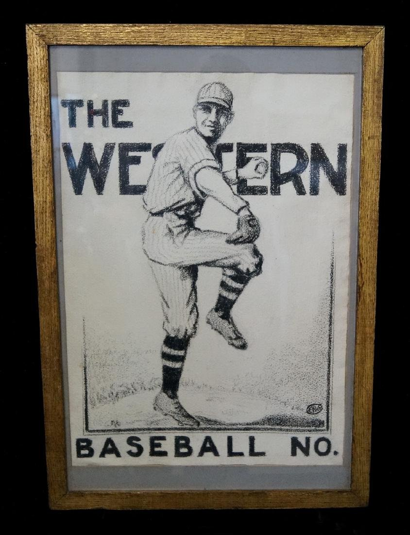 EUGENE KLEBE SIGNED CHARCOAL BASEBALL MAGAZINE COVER