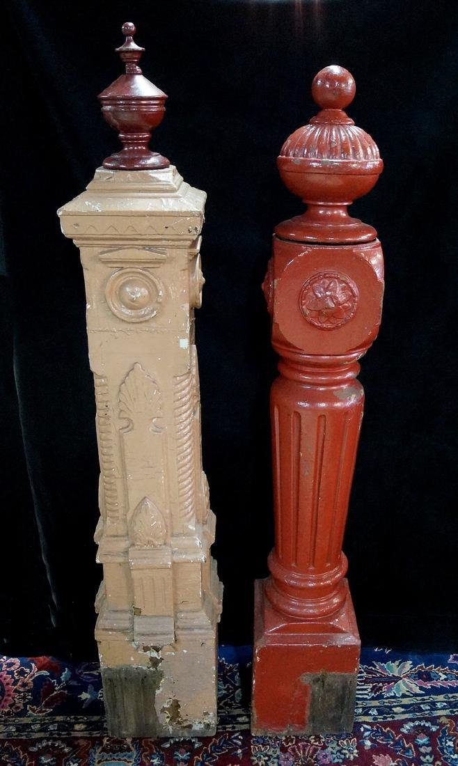 2 NEWEL POSTS, ONE RED
