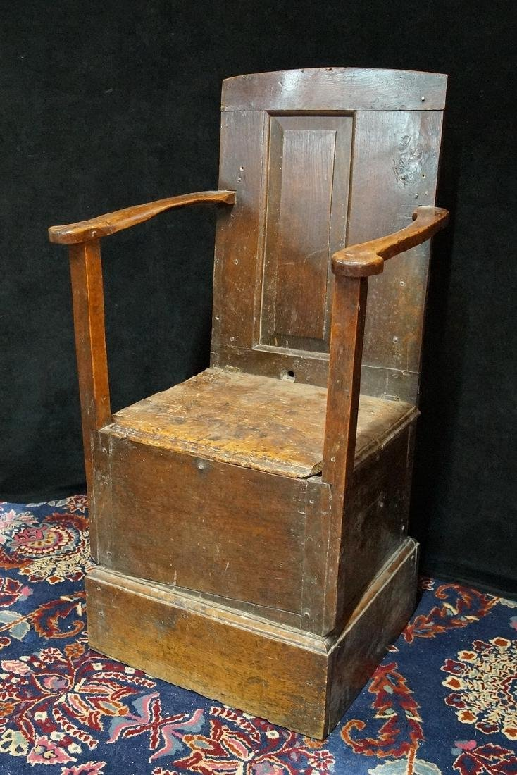 ANTIQUE MIXED WOODS POTTY/COMMODE