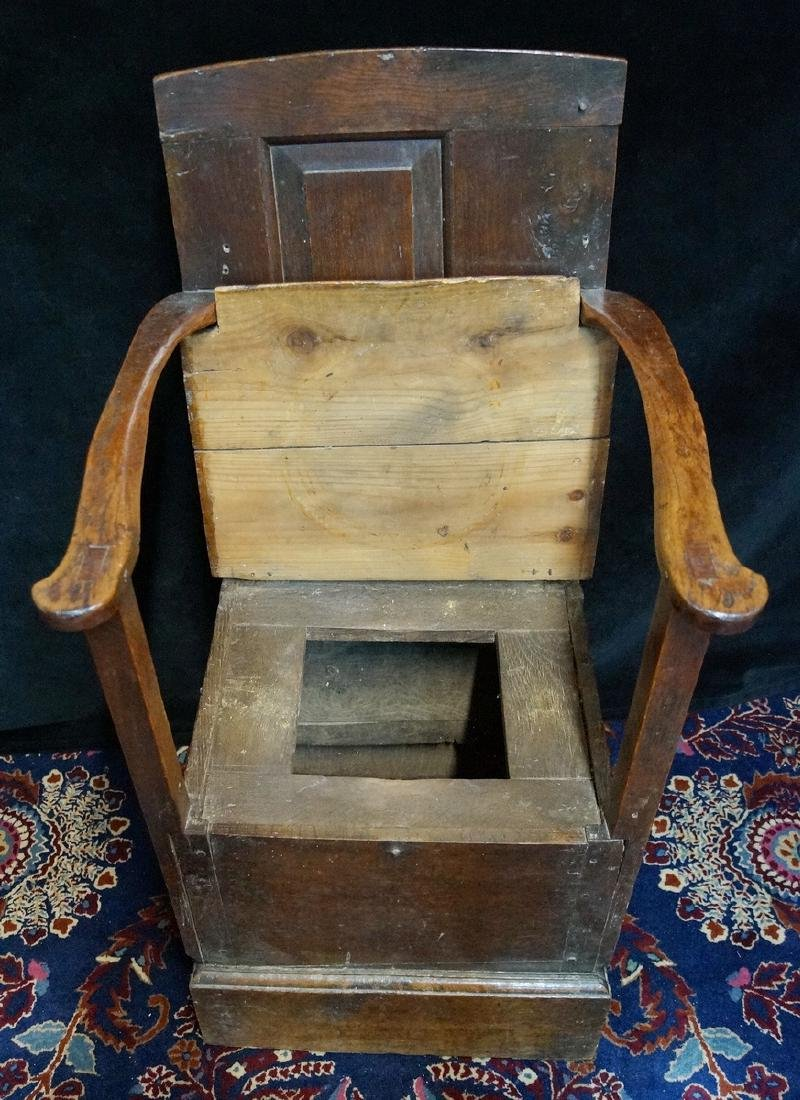 ANTIQUE MIXED WOODS POTTY/COMMODE - 5