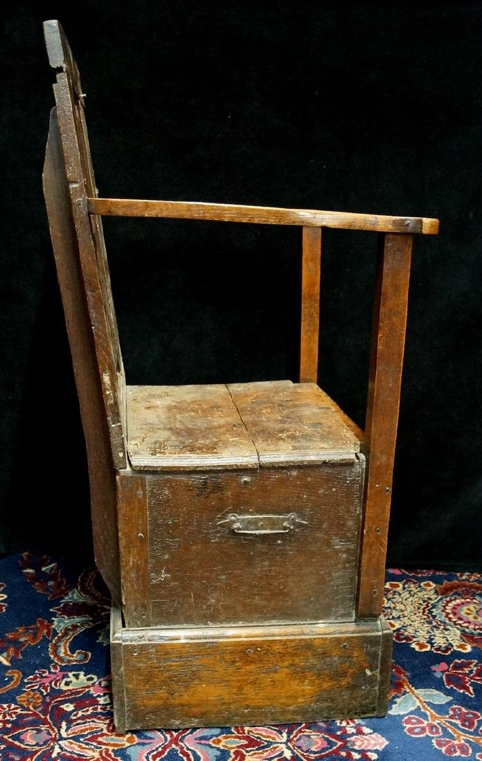 ANTIQUE MIXED WOODS POTTY/COMMODE - 8