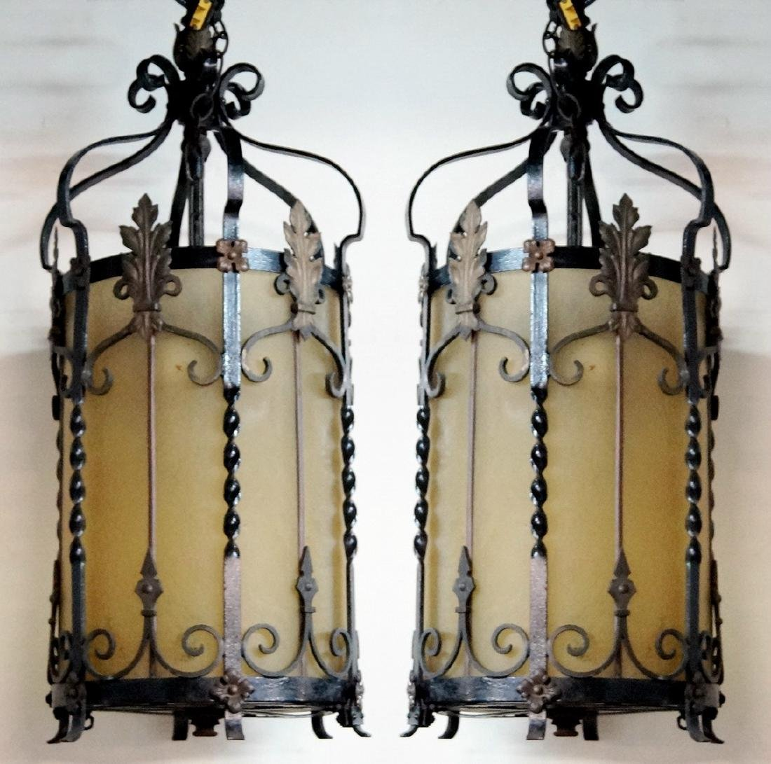 PR. WROUGHT IRON HALL FIXTURE W/ FROSTED GLASS INSERTS