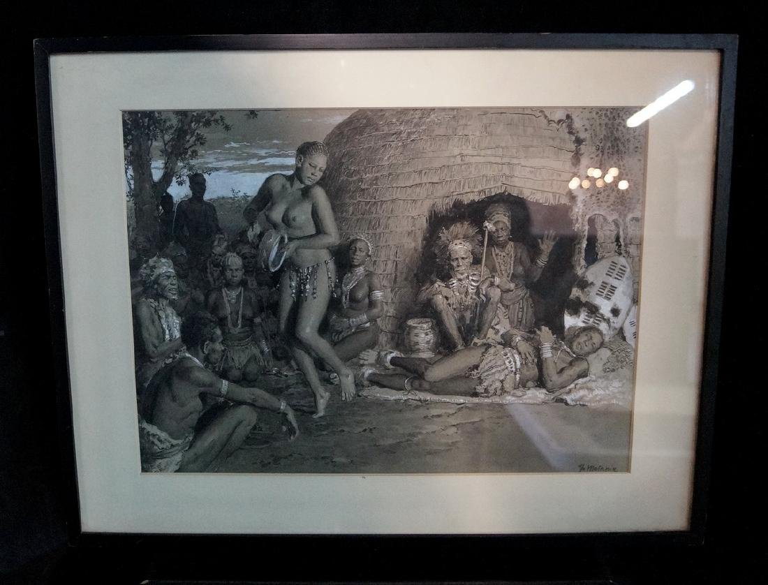 "MATANIA SIGNED ILLUSTRATION ""TRIBAL SCENE"""