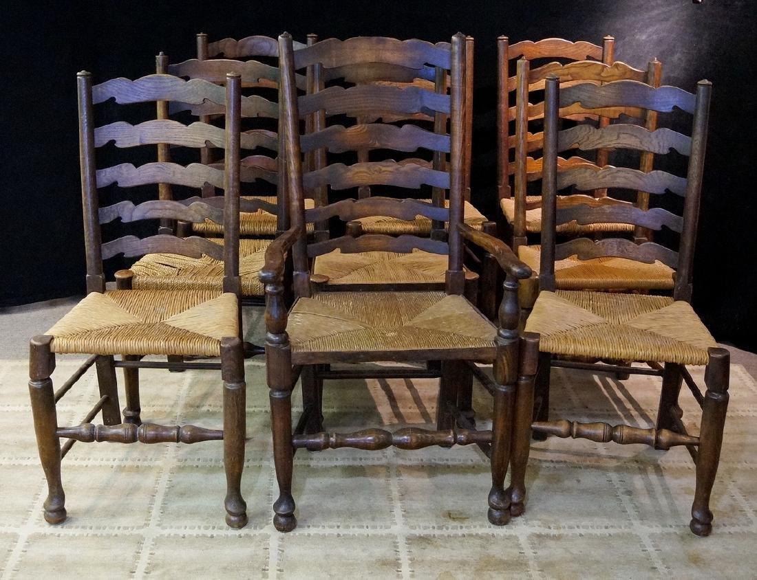 SET 9 19TH C. RUSH SEAT LADDERBACK CHAIRS