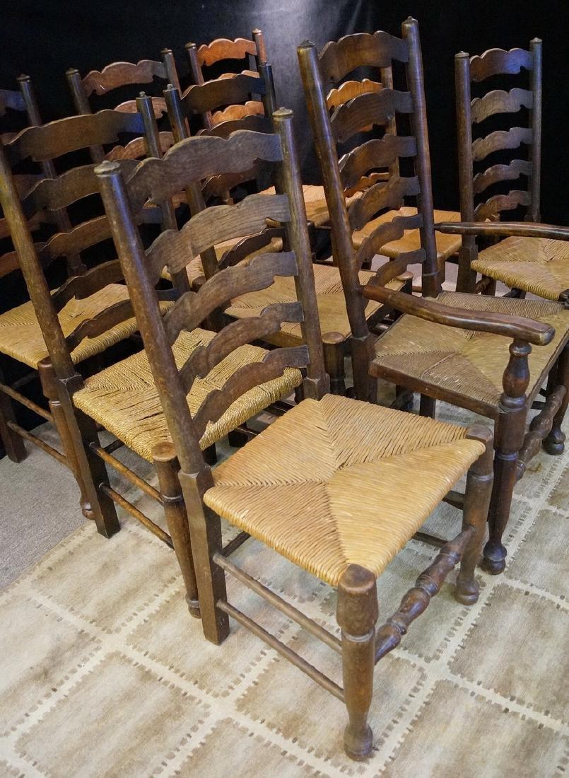 SET 9 19TH C. RUSH SEAT LADDERBACK CHAIRS - 2