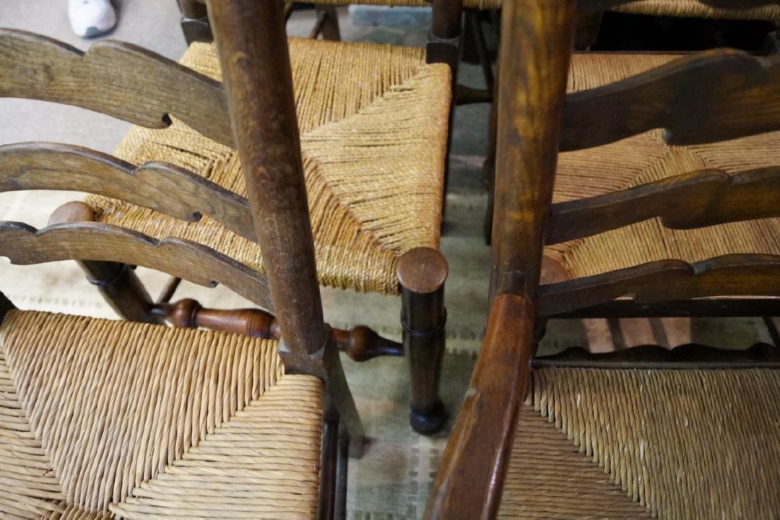 SET 9 19TH C. RUSH SEAT LADDERBACK CHAIRS - 3