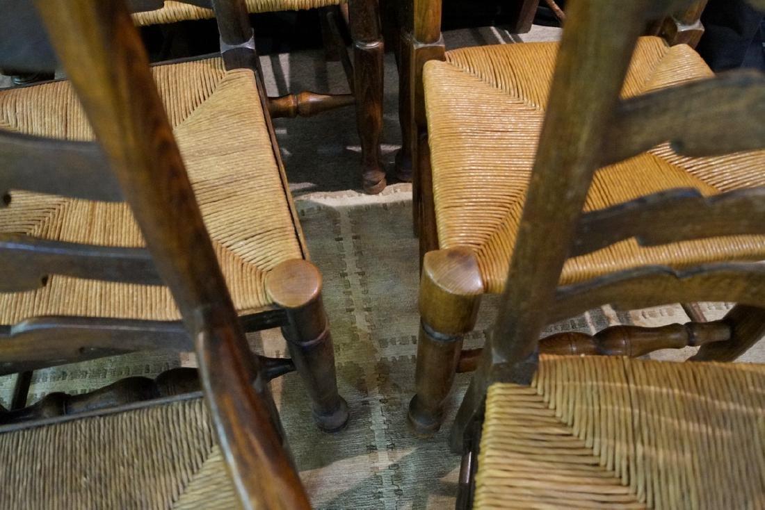 SET 9 19TH C. RUSH SEAT LADDERBACK CHAIRS - 4