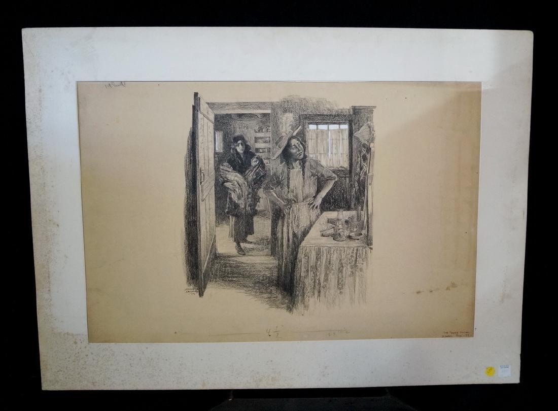 ARTHUR BECHER SIGNED GRAPHITE & CONTE CRAYON