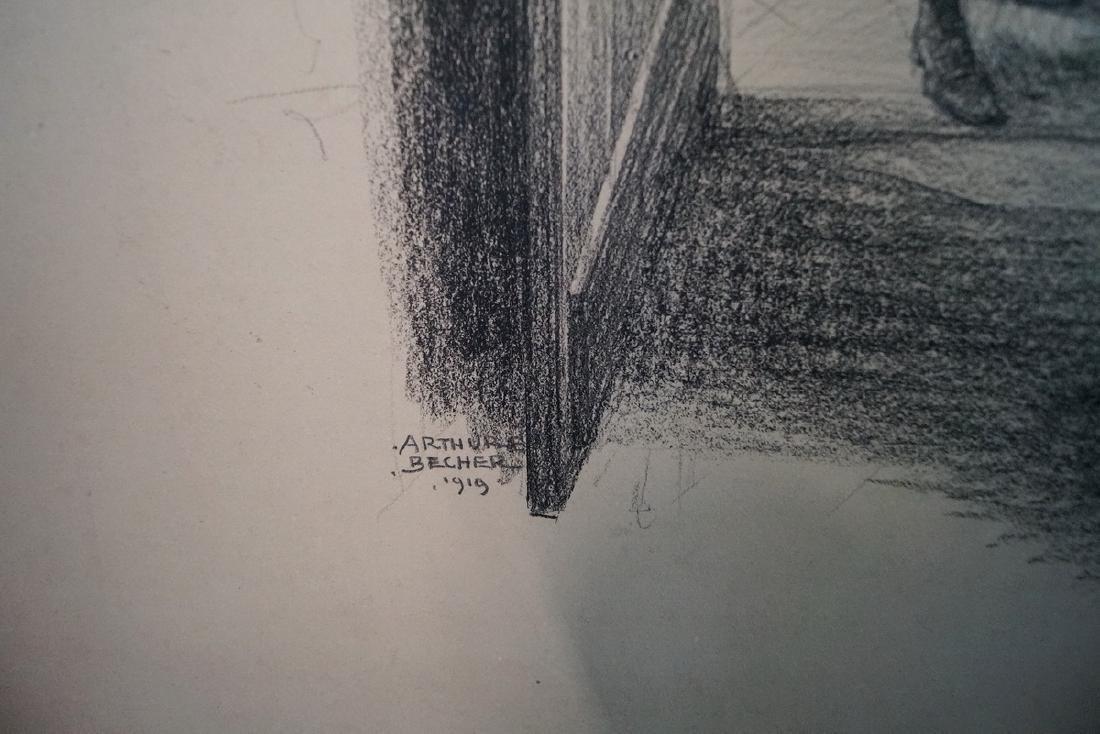 ARTHUR BECHER SIGNED GRAPHITE & CONTE CRAYON - 5