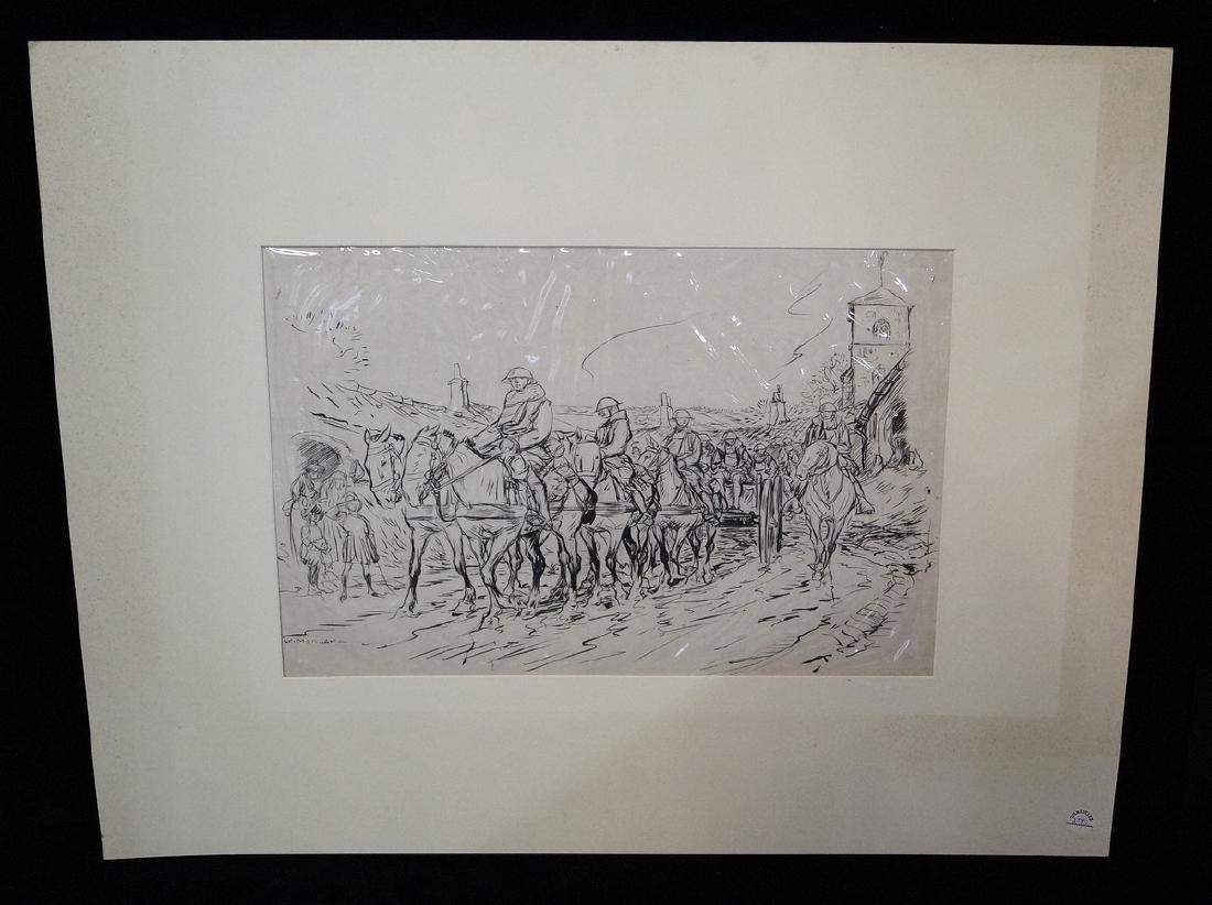 "W. MORGAN INK ILLUSTRATION ""WWI SOLDIERS ON HORSEBACK"""
