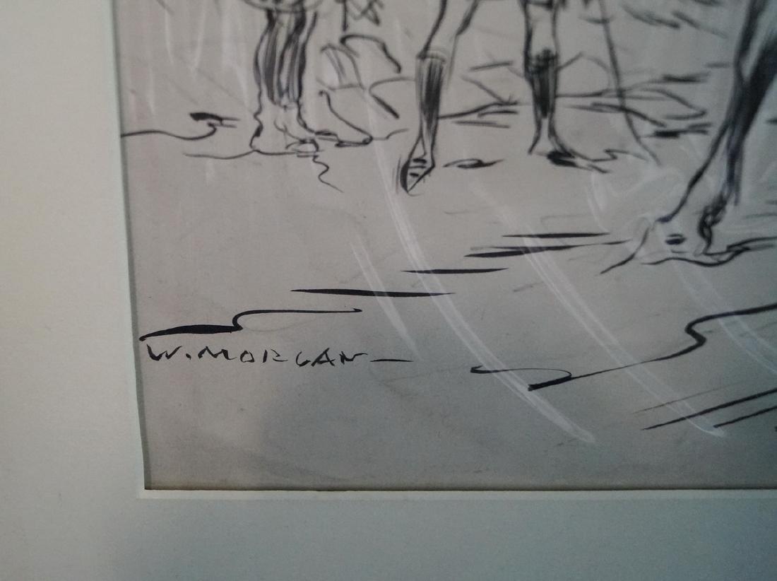 "W. MORGAN INK ILLUSTRATION ""WWI SOLDIERS ON HORSEBACK"" - 2"