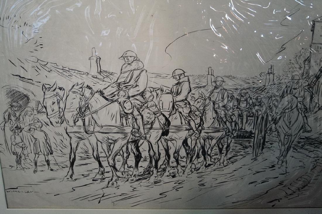 "W. MORGAN INK ILLUSTRATION ""WWI SOLDIERS ON HORSEBACK"" - 3"