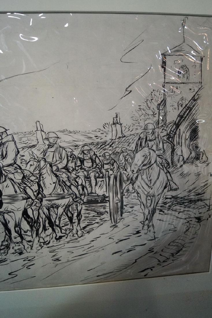 "W. MORGAN INK ILLUSTRATION ""WWI SOLDIERS ON HORSEBACK"" - 4"