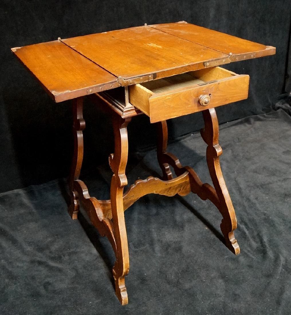 ITALIAN FLIP TOP WORK TABLE W/ DRAWERS & STRETCHER BASE - 4