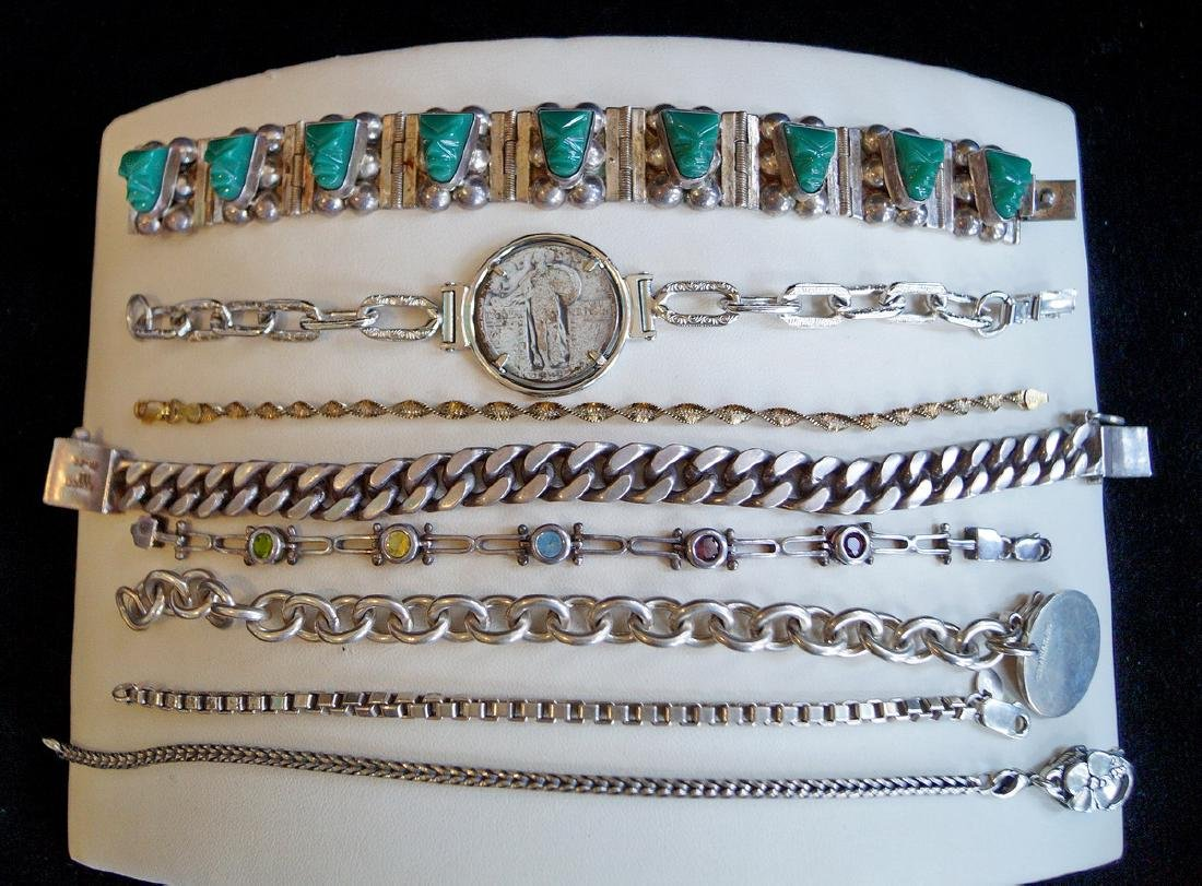 GROUP OF 8 BRACELETS, SOME STERLING,  JEWELRY