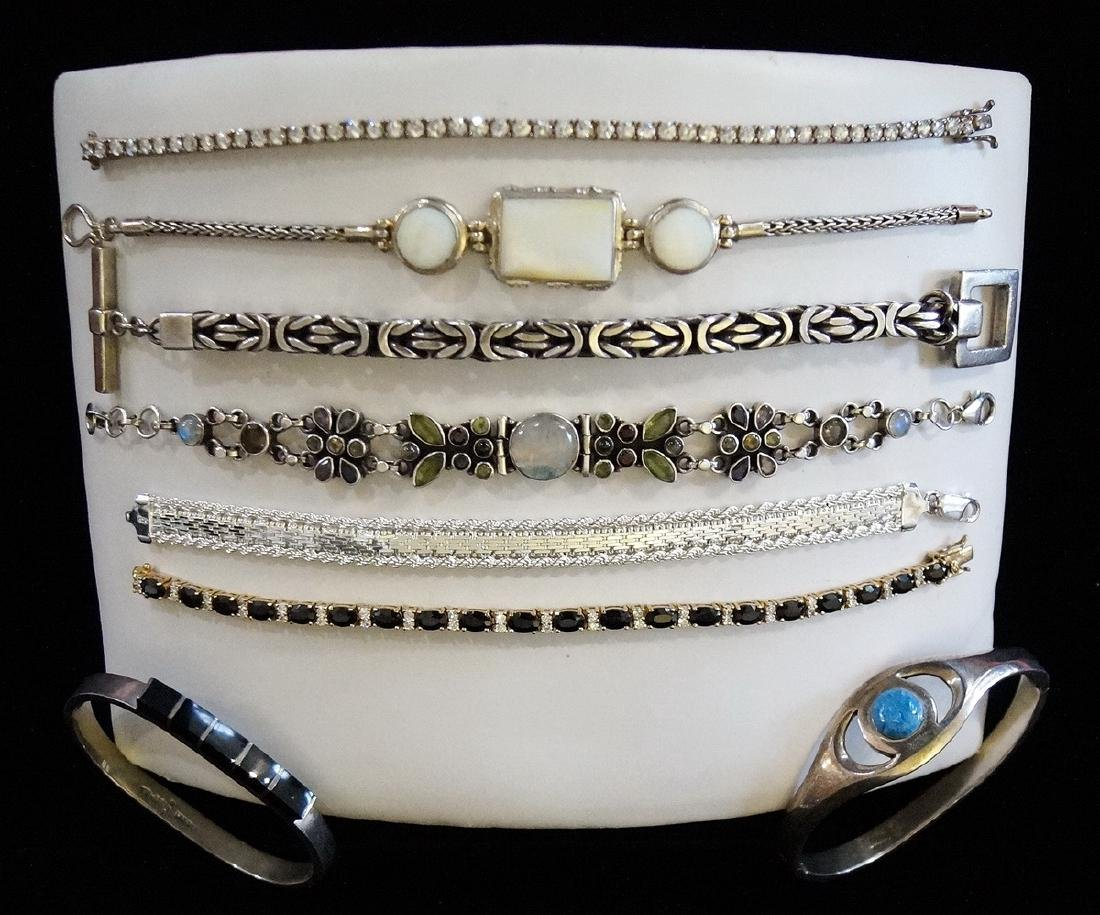 GROUP OF 8 BRACELETS, SOME STERLING,  JEWELRY - 2