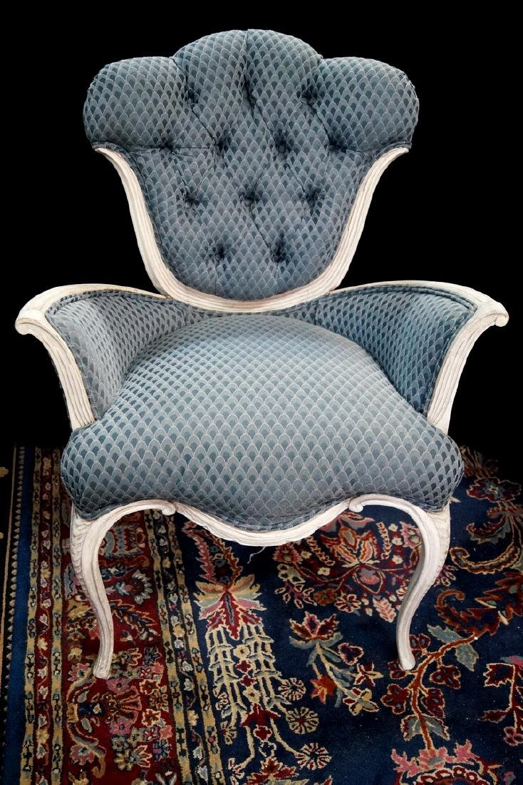 LOUIS XV STYLE PAINT DECORATED FIRESIDE CHAIR