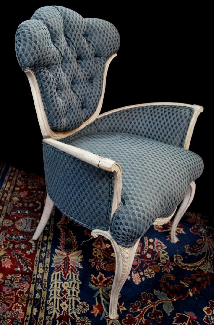 LOUIS XV STYLE PAINT DECORATED FIRESIDE CHAIR - 3