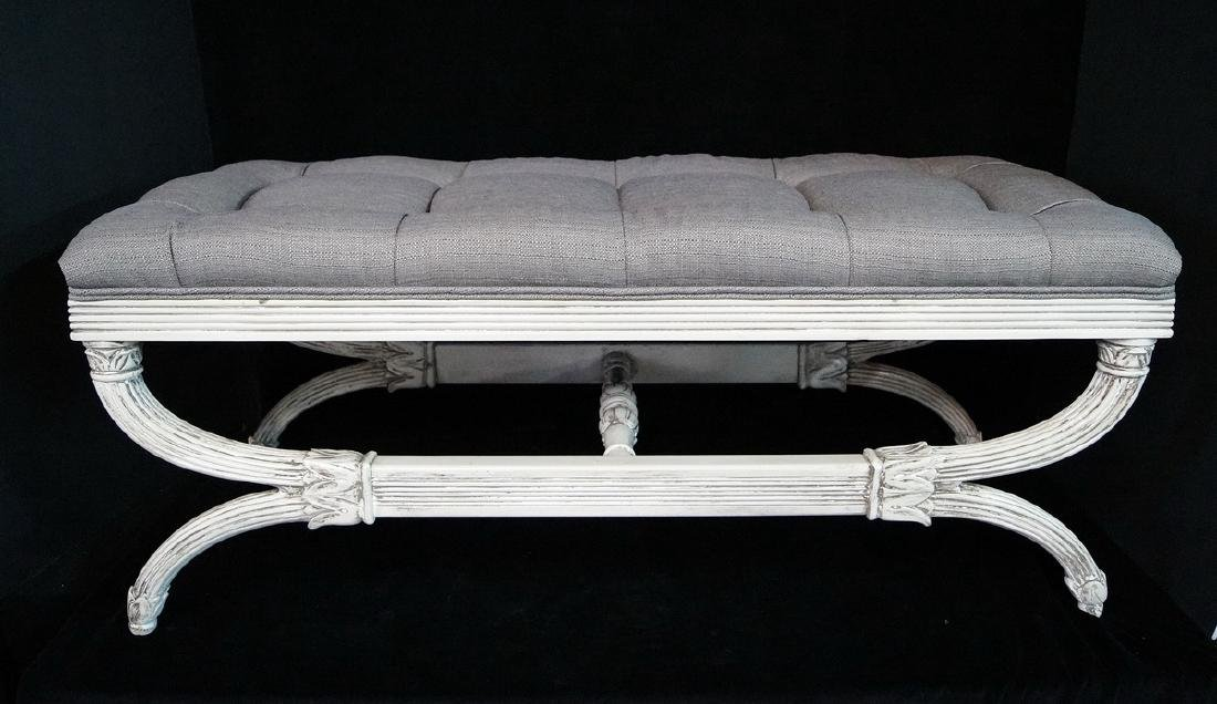 REGENCY STYLE PAINT DECORATED CERULE BENCH