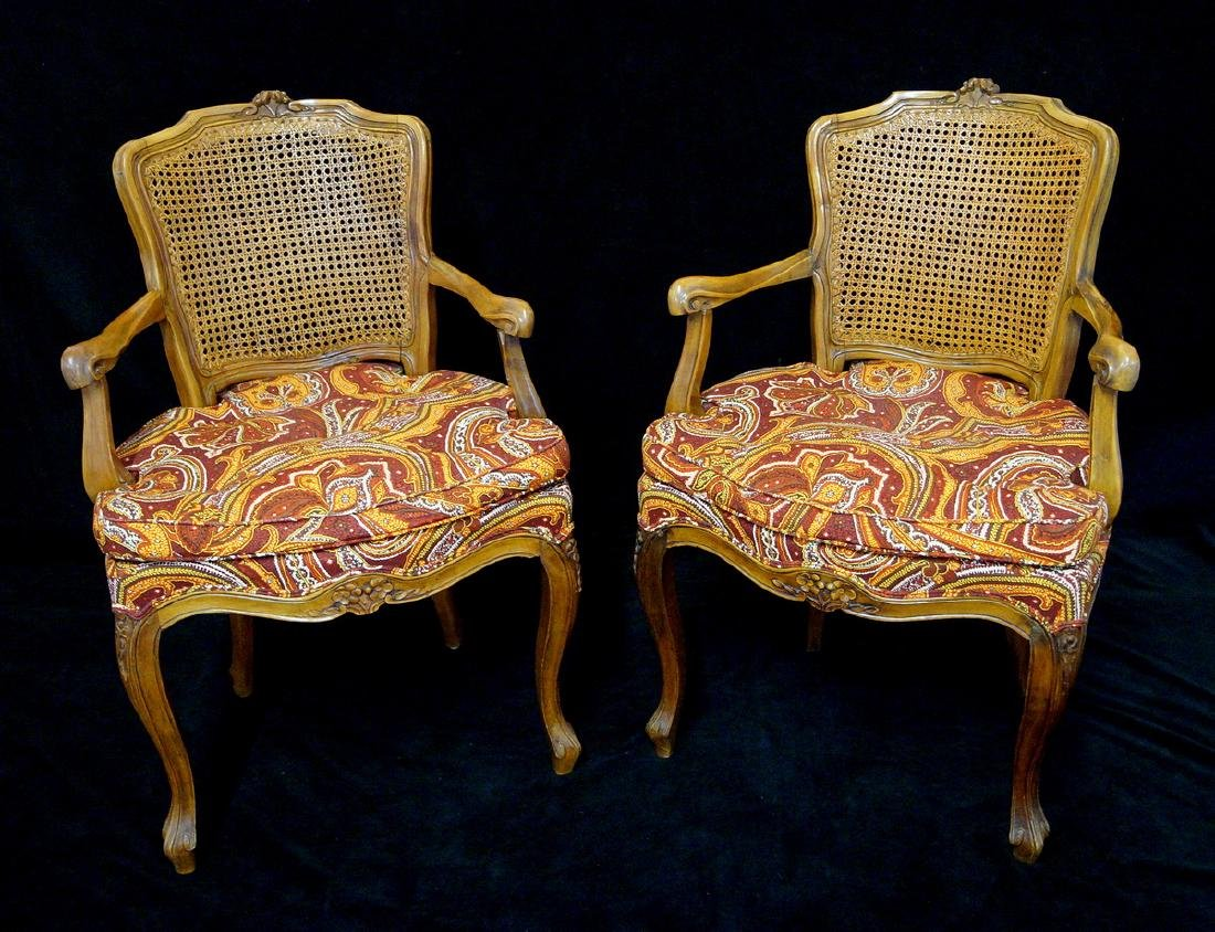 LOUIS XV STYLE CANED BACK FAUTEUILS