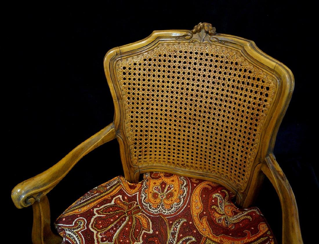 LOUIS XV STYLE CANED BACK FAUTEUILS - 3