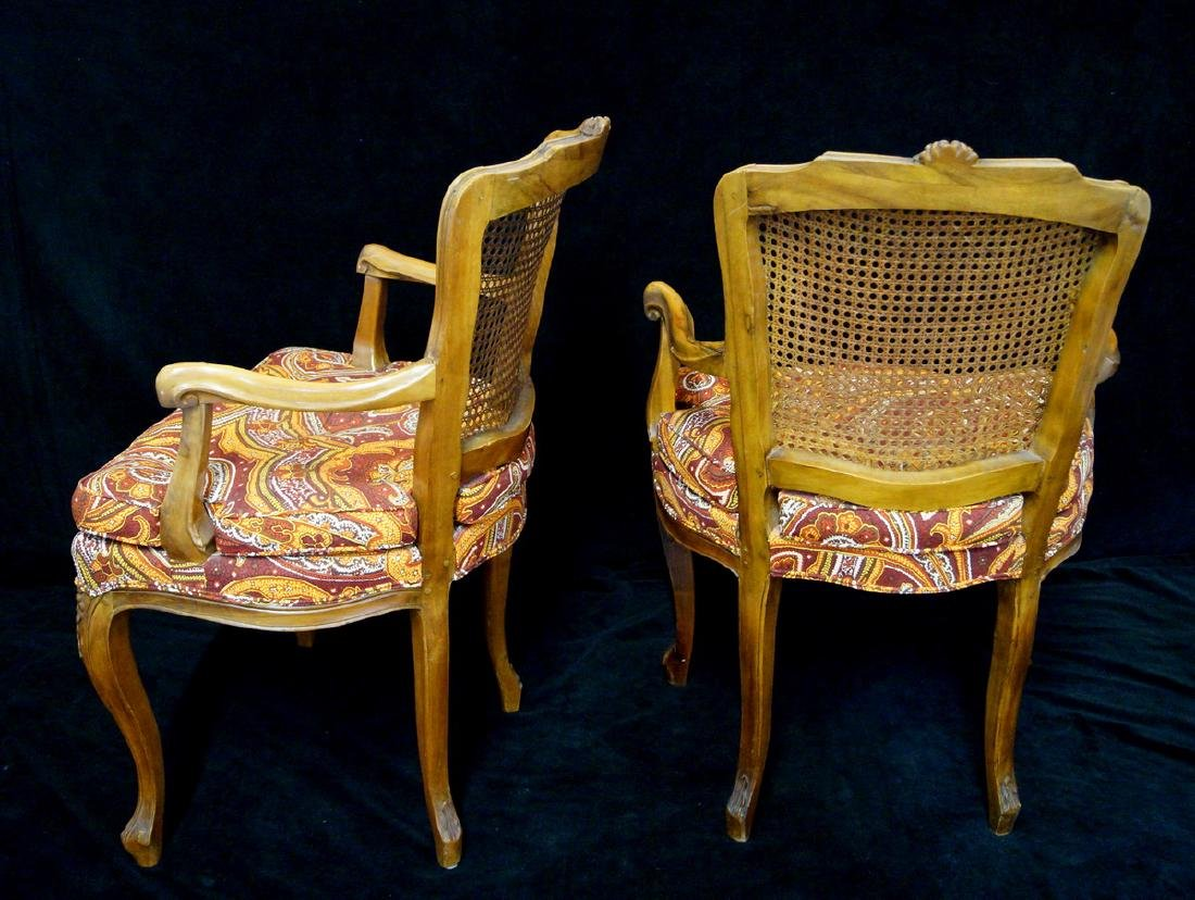 LOUIS XV STYLE CANED BACK FAUTEUILS - 5