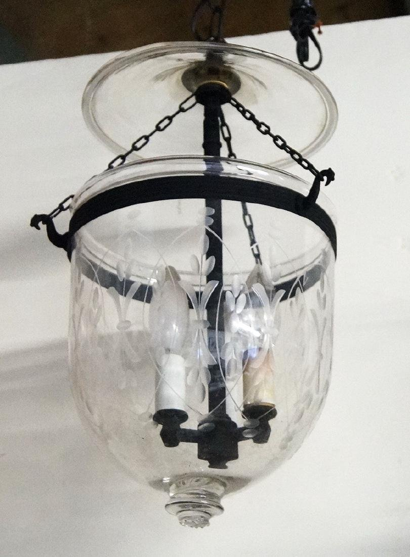ETCHED GLASS 3 LIGHT BELL FIXTURE