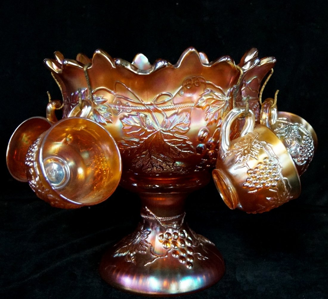 CARNIVAL GLASS PUNCH BOWL & GLASSES - 3