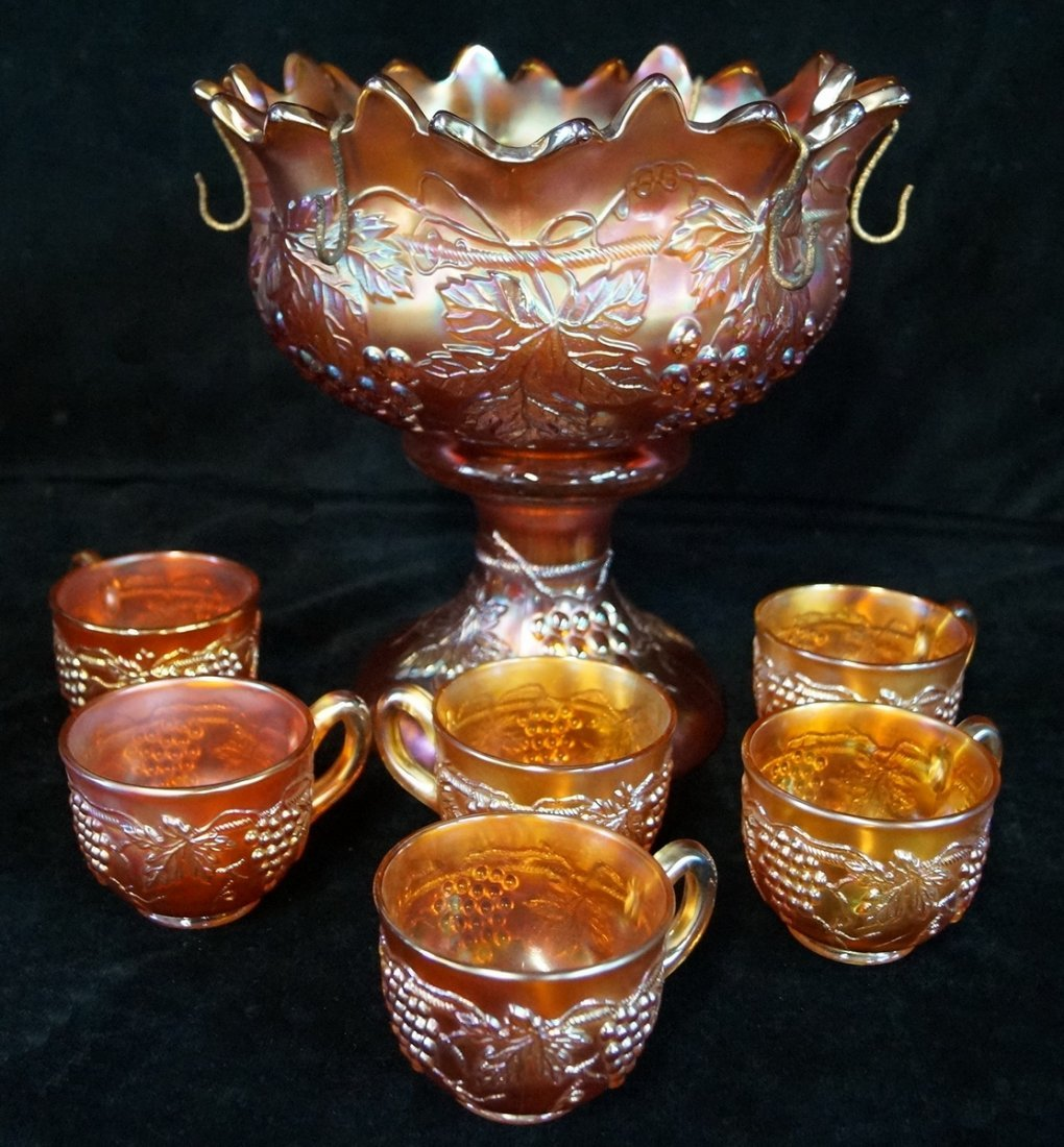 CARNIVAL GLASS PUNCH BOWL & GLASSES - 4