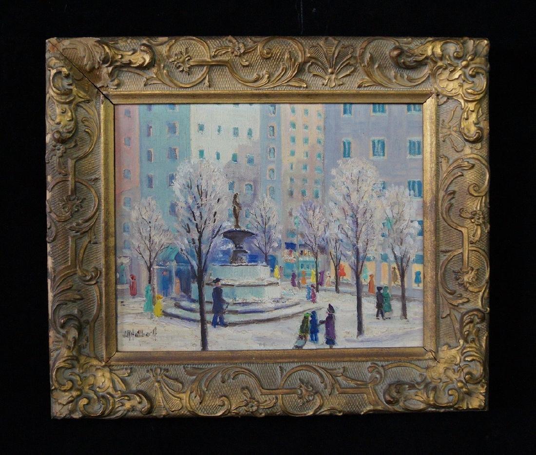 "HALLBERG ? OIL ON ARTISTS BOARD ""59TH STREET & 5TH AVE"""
