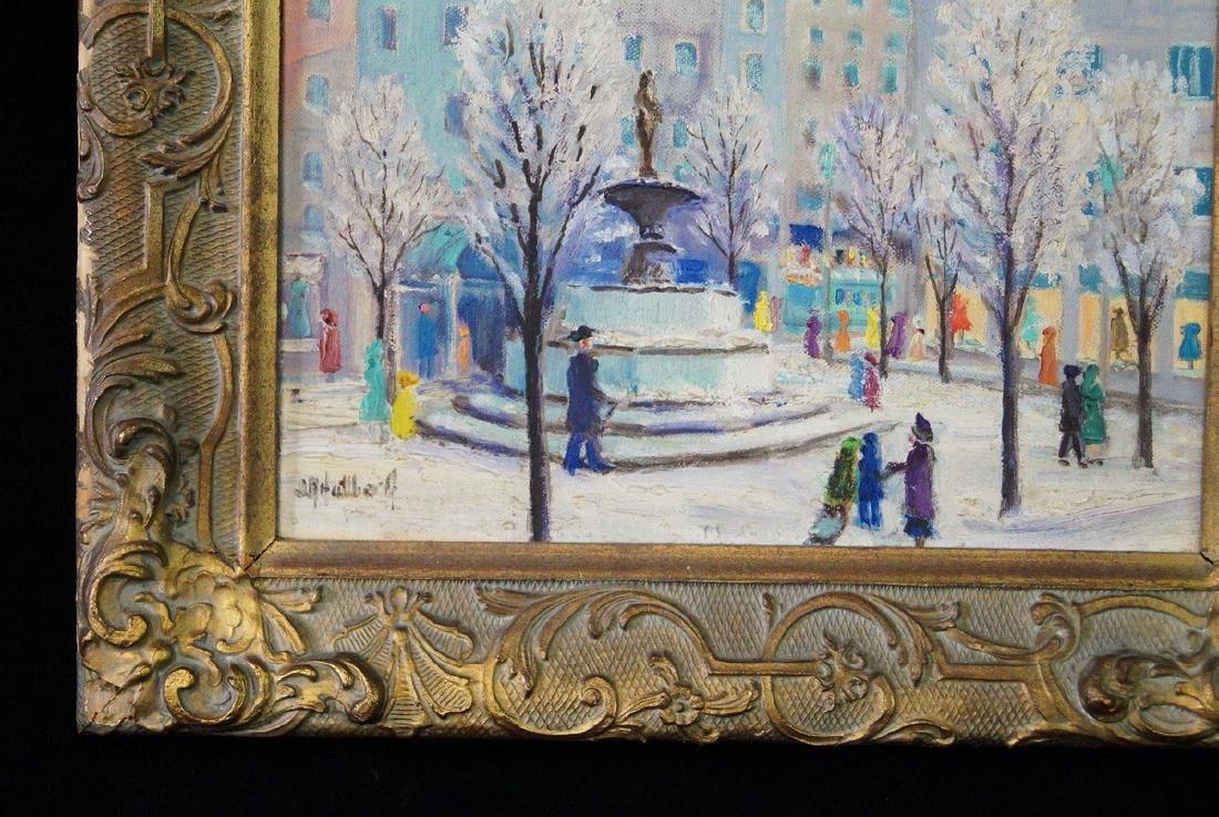 "HALLBERG ? OIL ON ARTISTS BOARD ""59TH STREET & 5TH AVE"" - 2"