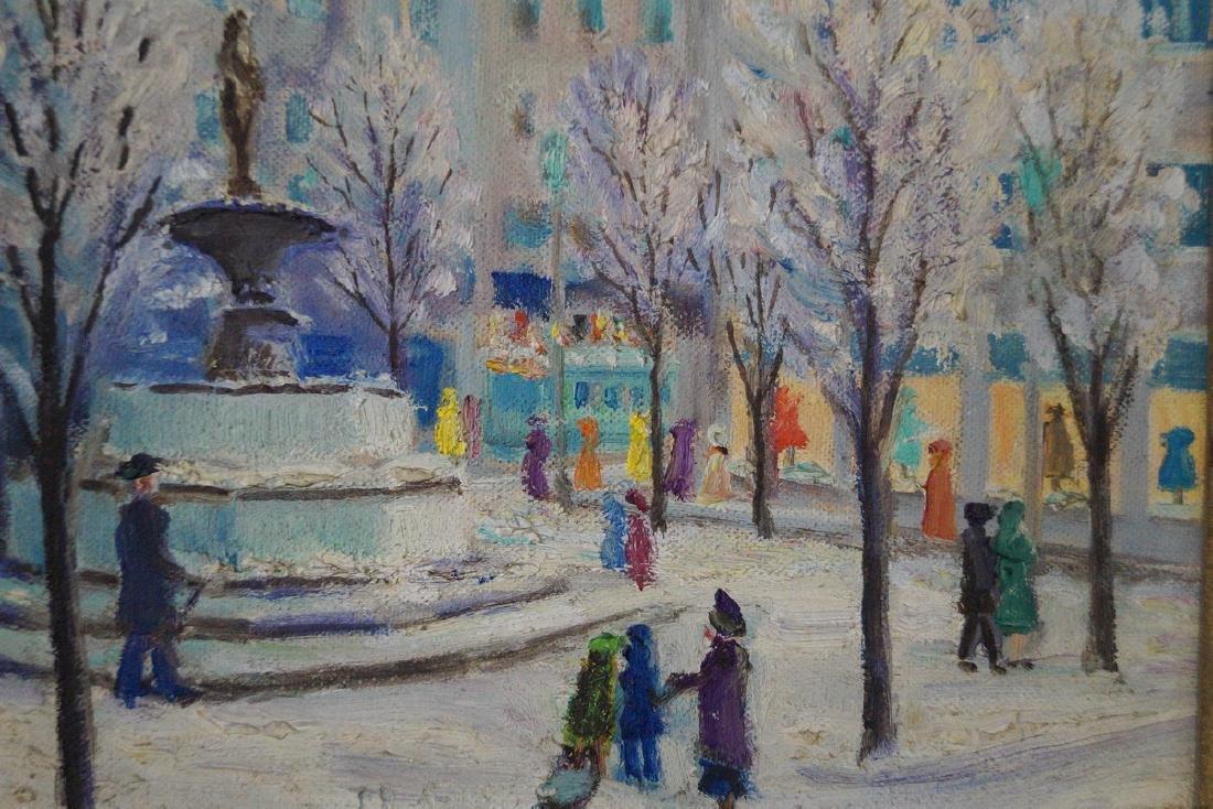 "HALLBERG ? OIL ON ARTISTS BOARD ""59TH STREET & 5TH AVE"" - 3"